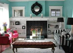 Cerah Dan Warna Warni Desain Ruang Tamu Minimalis Bright Turquoise Living Room 300x218 Ruang Tamu Cantik Minimalis Warna Warni Cerah