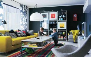 Cerah Dan Warna Warni Desain Ruang Tamu Minimalis Living Room With Colorful Furniture And Black Walls 300x189 Ruang Tamu Cantik Minimalis Warna Warni Cerah