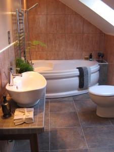 eclectic bathroom 225x300 20 Desain Kamar Mandi Dengan Bathtub Terbaru
