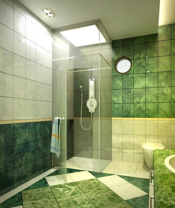 15 desain kamar mandi minimalis bernuansa hijau