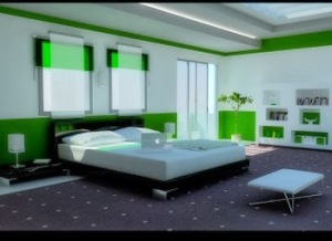 Desain Kamar Tidur Minimalis Modern Terbaru warna hijau